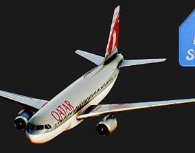 3D asset Airbus A320 Qatar Airway Airplane