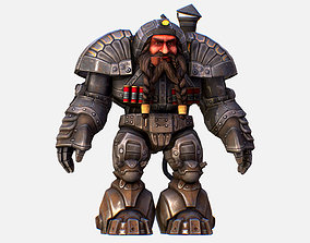3D model Game Character Mailed Armored Metal Gnome Robot