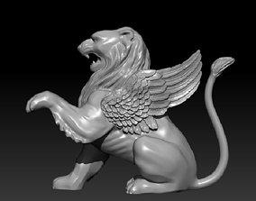 Winged lion sculpture 3D printable model