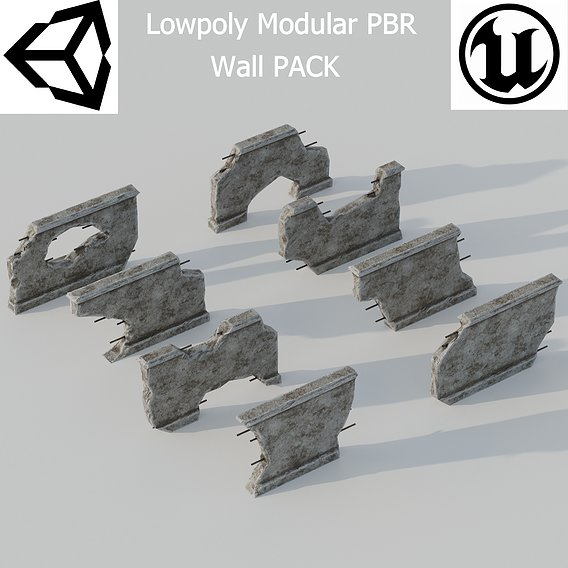 Modular Wall Lowpoly PBR Pack