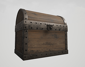 Wooden Chest with Metallic Edges 3D asset
