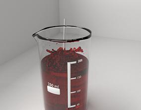 250 ml Glass Beaker with Liquid and Rod 3D model