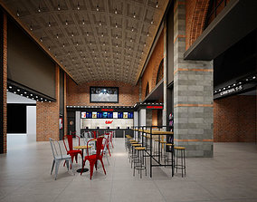 Cinema theatre lobby entrance industrial style 3D 1