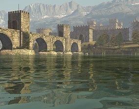 river 3D model Medieval Castle
