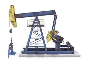 3D model Oil Pumpjack Animated Weathered 1