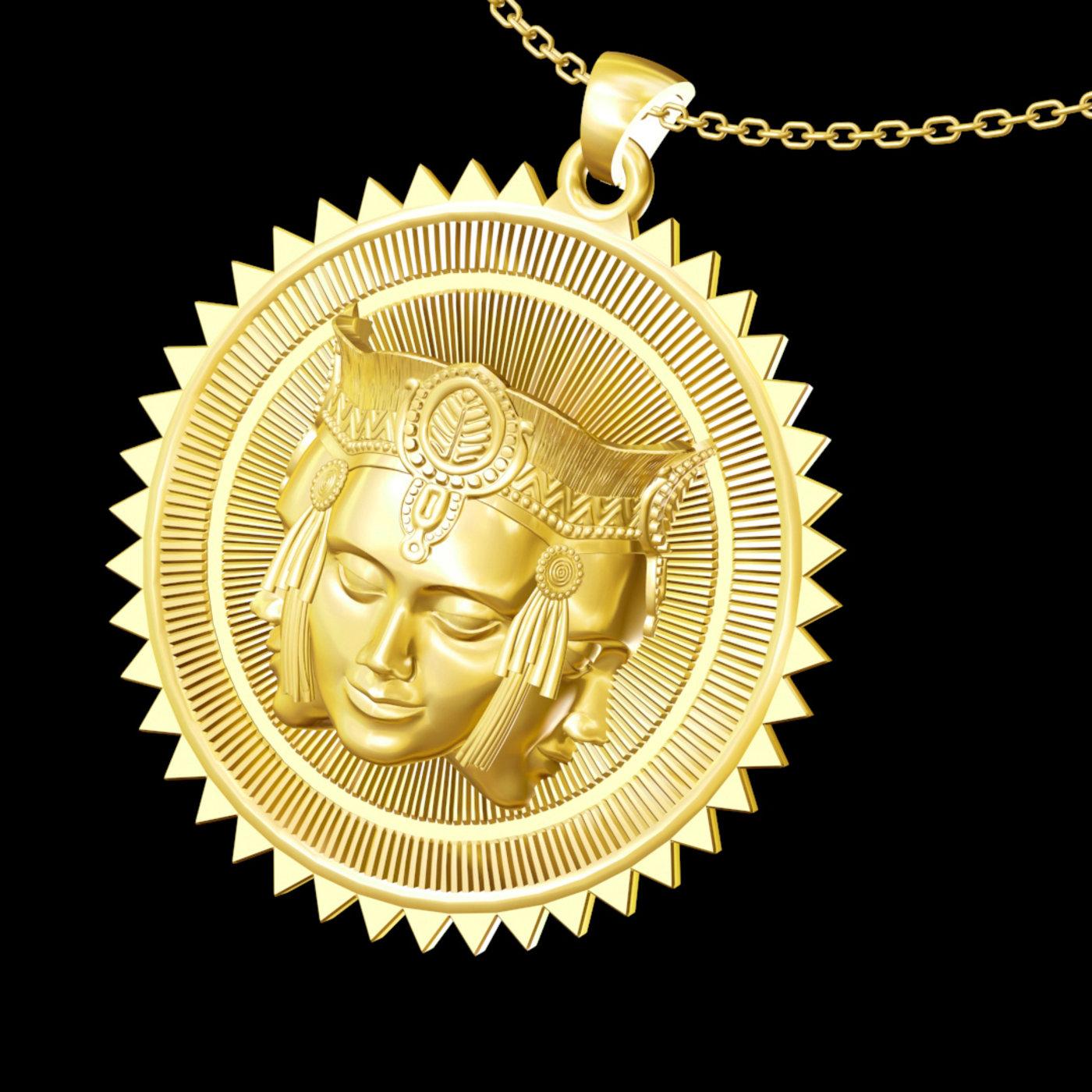 Brahma pendant jewelry gold necklace medallion 3D print model