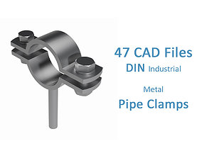3D model Industrial Pipe Clamps For DIN Metal Pipes - 1
