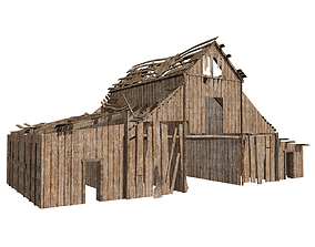 3D model low-poly wooden barn