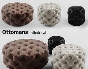 3D model Ottomans cylindrical set