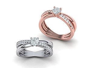 earth Cross over Engagement ring 3dmodel