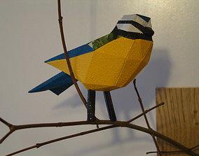 Bird Blue Tit - low poly 3D printable model