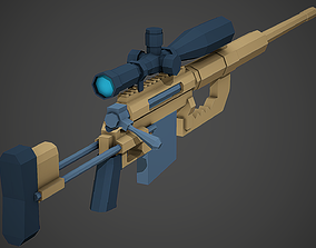 Stylized Cheytac M200 Low Poly Mobile Ready 3D asset