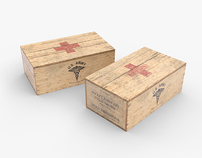 US First Aids Wooden Boxes WWII 3D asset realtime