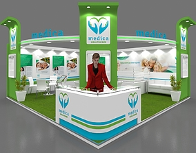 Exhibition stall 3d model 6x6 mtr 2sides open Healthcare