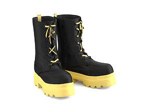 Demi-season leather boots 3D asset