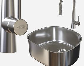 3D model sink-Prestige PRX11021 - faucet-Steel FF3450 - 1