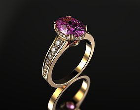 Pink Sapphire Ring In Oval Cut From Gemone 3D print model