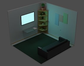 tv 3D model low-poly Low poly room