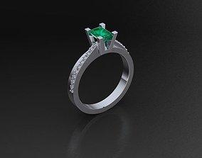 3D printable model Ring Emerald cut center 2632