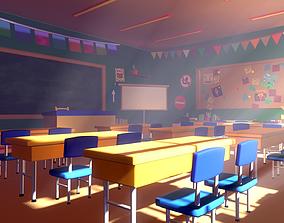 3D model Asset - Cartoons - Background - Classroom - 02