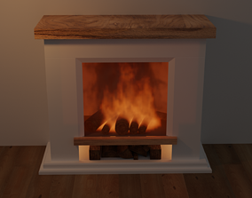3D model animated low-poly animated fire place
