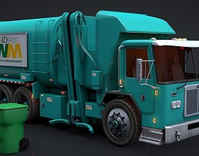 Garbage Truck and Trash Can Rigged C4D 3D asset