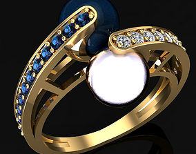 3D print model Two pearls ring