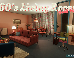 3D asset Low-Poly 60s Living Room Pack