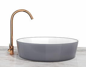 Ceramic Sink and Copper Faucet 3D