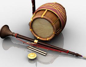 nadaswaram melam music instruments 3d model