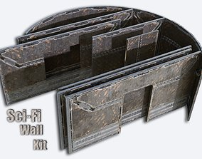 3D asset Sci-FI Walls - set T -