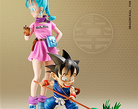 3D printable model Dragon Ball Statue - Goku and Bulma Fan