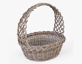 Wicker Basket 09 Gray Color 3D model