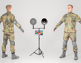 Young German soldier in uniform in A-pose 144 3D asset