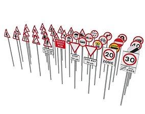 3D model UK road signs