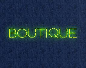 Boutuque Neon Sign 3D model