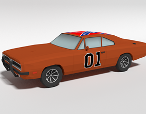 3D asset Low Poly Cartoon Dodge Charger 1969 - General Lee