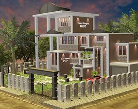modern house car 3D model game-ready