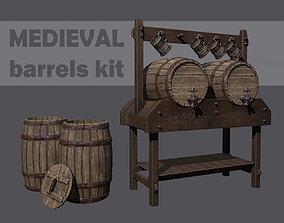 3D asset Medieval barrels and stand kit