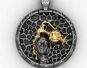 Zodiac sign Aquarius Pendant 3D printable model