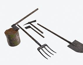 3D model low-poly Farm Tools