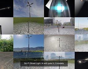 Sci-Fi Street Light 14 with pole 3 3D model