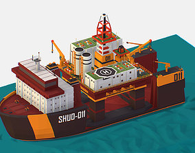 3D model isometric Heavy Lift Vessel with Big Oil Rig