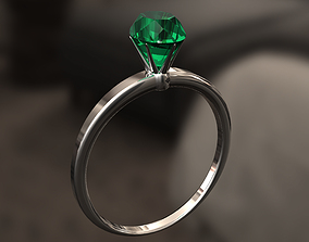 3D printable model Simple ring with big diamond