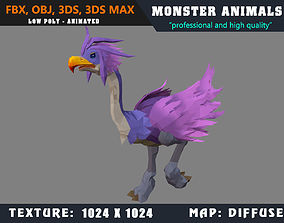 Low Poly Ostrich Cartoon Monster 3D Model animated 3