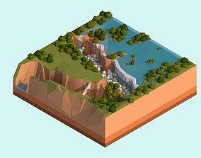 3D model Cartoon Low Poly Victoria Falls