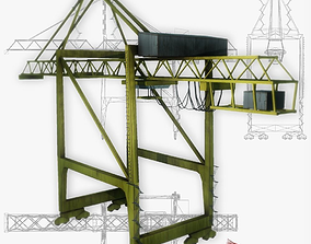 Port crane yellow 2 low poly 3D asset