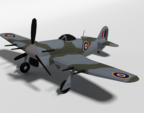 Low Poly Cartoon Hawker Typhoon WWII Airplane 3D model