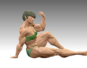Bodybuilder bikini statue in a sit poses 3D print model