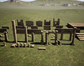 3D asset Temple ruins construction kit